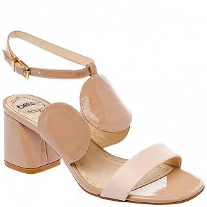 987055/02-04 бежевый иск.кожа лак/иск.кожа женские туфли открытые