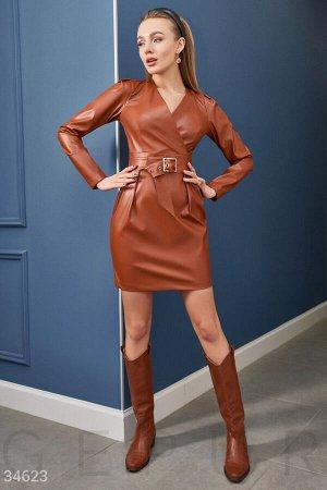 Кожаное платье шоколадного цвета