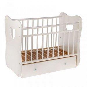Детская кроватка Vita на маятнике, с ящиком, цвет белый