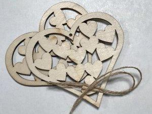 Заготовки деревянные декор Сердце 10см (2шт в пачке)