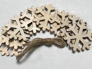 Заготовки деревянные декор Снежинки 5 см (8шт в пачке)
