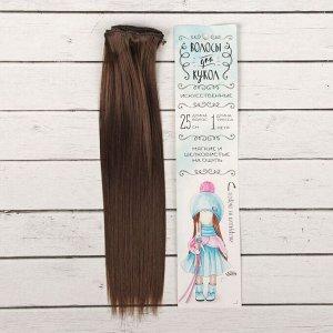 Волосы - тресс для кукол «Прямые» длина волос: 25 см, ширина:100 см, цвет № 6К