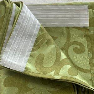Жаккард зелень  принт  2 шторы по 2 метра длина 270 см