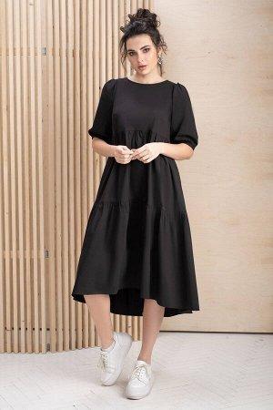 Платье Платье ЮРС 19-295/1  Состав ткани: ПЭ-40%; Хлопок-55%; Эластан-5%;  Рост: 164 см.  Если вы решили приобрести черное летнее платье, знайте, что это весьма удачный выбор. Оно весьма универсально