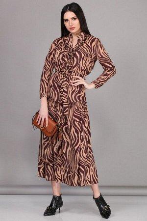 Платье Платье Beautiful&Free 2072  Состав ткани: Вискоза-82%; ПЭ-18%;  Рост: 164 см.  Длинное платье из шелк-шифона, отрезное по линии талии, на резинке. Горловина-стойка с вырезом, блочками на шнуро