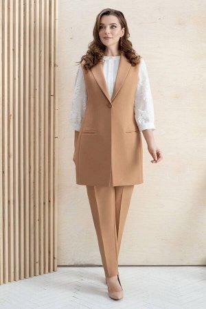 Костюм Костюм ЮРС 20-333/2  Рост: 164 см.  Брючный костюм с удлиненным жилетом является одним из ультрамодных решений. Этот предмет гардероба прекрасно вписывается в строгие композиции и отлично допо