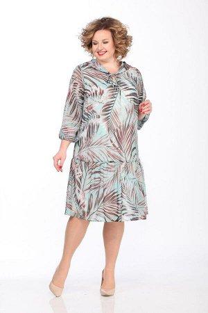 Платье Lady Secret Артикул: 3622/2 бирюза+листья