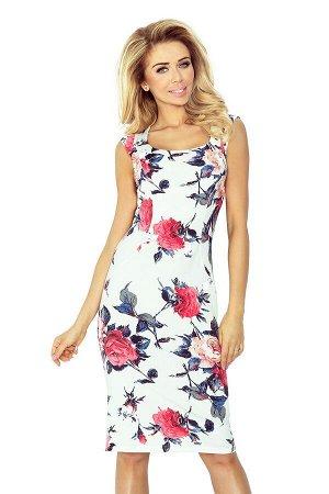 Платье NUMOCO 53-30  Элегантное облегающее платье в цвете экрю с узором. Очень удобно и женственно. Рост модели на фото 170 см.