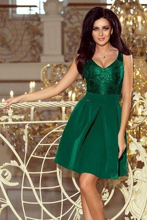 Платье NUMOCO 208-4  Эксклюзивное платье для особых случаев. Кружевной вырез, складки и карманчики. Очень приятная на ощупь мате