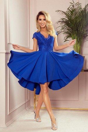 Платье NUMOCO 300-3  Эксклюзивное асимметричное платье-клёш с красивым декольте и кружевом. Рост модели на фото 171 см. Состав: