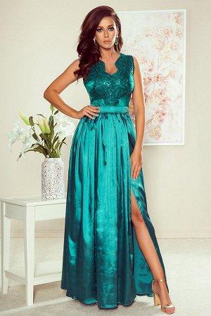 Платье NUMOCO 256-1  Эксклюзивное платье для особых случаев. Кружевное декольте и двойная расклешенная юбка создают женственный,