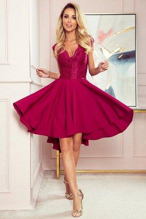 Платье NUMOCO 300-4  Эксклюзивное асимметричное платье-клёш с красивым декольте и кружевом. Рост модели на фото 171 см. Состав: