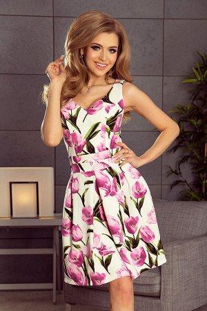 Платье NUMOCO 160-4  Нарядное платье с красивым вырезом, расклешённой юбочкой и карманами. Модель нежно раскрывает плечи и краси
