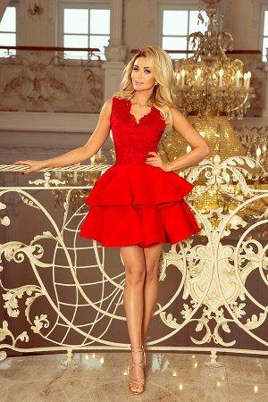 Платье NUMOCO 200-4  Эксклюзивное платье для особых случаев. Кружевное декольте и двойная расклешенная юбка создают женственный,