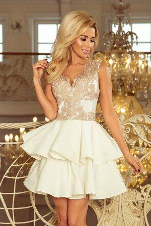 Платье NUMOCO 200-1  Эксклюзивное платье для особых случаев. Кружевное декольте и двойная расклешенная юбка создают женственный,