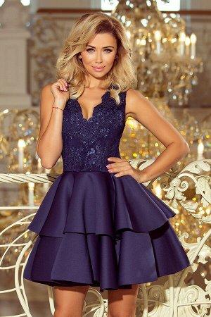 Платье NUMOCO 207-2  Эксклюзивное богато украшенное платье для особых случаев. Вышитое декольте и пышная юбка с двойным клёшем с