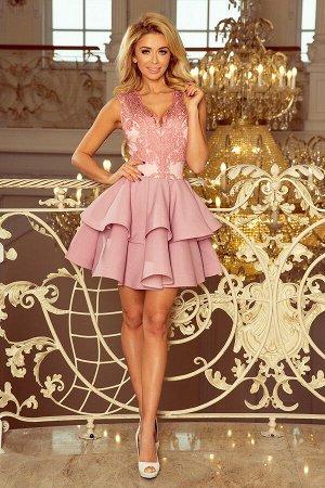 Платье NUMOCO 200-5  Эксклюзивное платье для особых случаев. Кружевное декольте и двойная расклешенная юбка создают женственный,