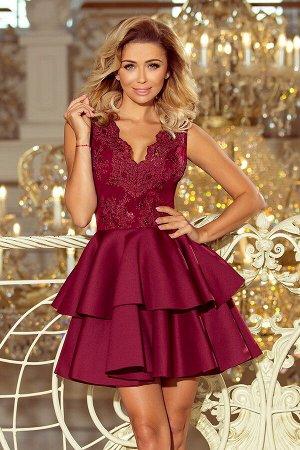 Платье NUMOCO 207-1  Эксклюзивное богато украшенное платье для особых случаев. Вышитое декольте и пышная юбка с двойным клёшем с