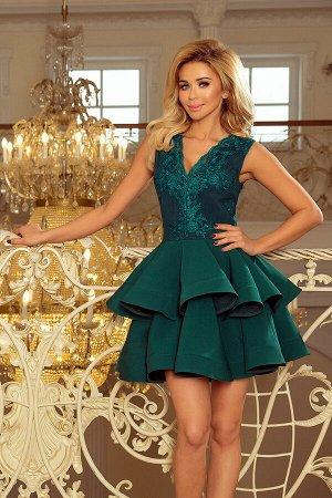 Платье NUMOCO 200-6  Эксклюзивное платье для особых случаев. Кружевное декольте и двойная расклешенная юбка создают женственный,