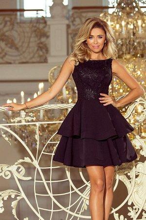 Платье NUMOCO 206-2  Эксклюзивное платье-клёш с двумя оборками. Застегивается сзади на молнию. Рост модели на фото 170 см. Соста