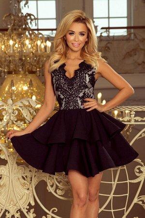 Платье NUMOCO 200-3  Эксклюзивное платье для особых случаев. Кружевное декольте и двойная расклешенная юбка создают женственный,