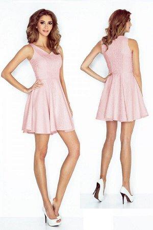 Платье MORIMIA 014-5 розовая пастель  Платье-клёш с декольте в форме сердца. Текстурный материал. Состав: 70% вискоза, 30%полиэс