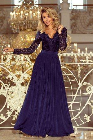 Платье NUMOCO 214-1  Эксклюзивное платье-макси с кружевным вырезом и длинным рукавом. Красиво обнажает спину. Застегивается сзад