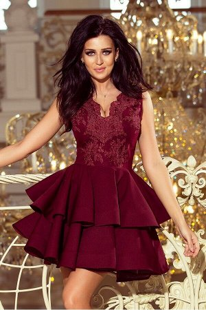 Платье NUMOCO 200-8  Эксклюзивное платье для особых случаев. Кружевное декольте и двойная расклешенная юбка создают женственный,