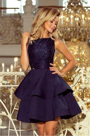Платье NUMOCO 205-3  Эксклюзивное платье для особых случаев. Кружевной вырез, расклешённая юбка с двумя оборками. Женственно и н