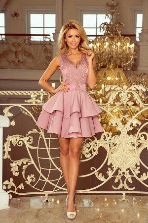 Платье NUMOCO 200-10  Эксклюзивное платье для особых случаев. Кружевное декольте и двойная расклешенная юбка создают женственный