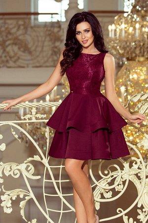 Платье NUMOCO 205-2  Эксклюзивное платье для особых случаев. Кружевной вырез, расклешённая юбка с двумя оборками. Женственно и н