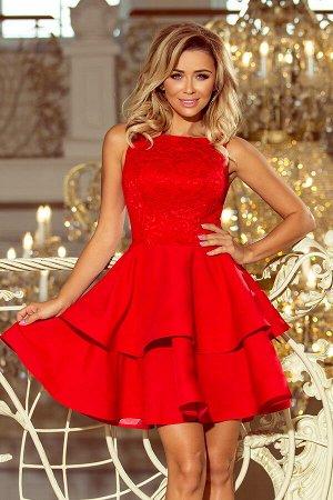 Платье NUMOCO 205-1  Эксклюзивное платье для особых случаев. Кружевной вырез, расклешённая юбка с двумя оборками. Женственно и н