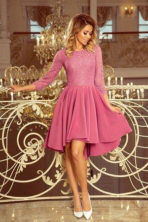 Платье NUMOCO 231-2  Асимметричное эксклюзивное платье с рукавом 3/4 и кружевом. Расклешённая юбочка делает модель идеальной для
