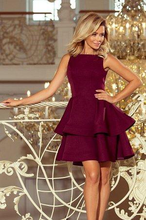 Платье NUMOCO 169-7  Платье-клёш с двумя оборками. Приятный к телу материал. Рост модели на фото 170 см. Состав: 95% полиэстер,