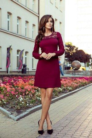Платье NUMOCO 291-1  Платье-трапеция с кружевной вставкой и объёмным рукавом. Изготовлено из слегка эластичного матового материа