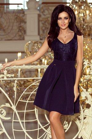 Платье NUMOCO 208-1  Эксклюзивное платье для особых случаев. Кружевной вырез, складки и карманчики. Очень приятная на ощупь мате