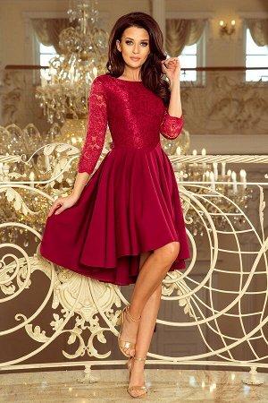 Платье NUMOCO 231-1  Асимметричное эксклюзивное платье с рукавом 3/4 и кружевом. Расклешённая юбочка делает модель идеальной для