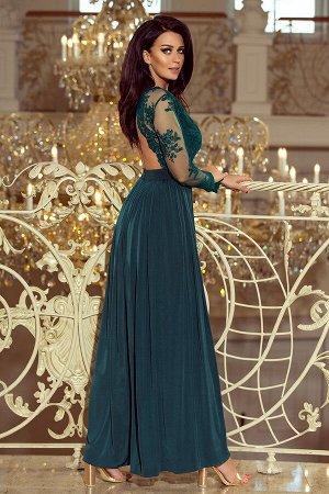 Платье NUMOCO 213-1  Эксклюзивное платье-макси с вышитым декольте и длинными рукавами. Красиво обнажает спину. Застегивается сза