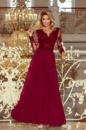 Платье NUMOCO 213-2  Эксклюзивное платье-макси с вышитым декольте и длинными рукавами. Красиво обнажает спину. Застегивается сза