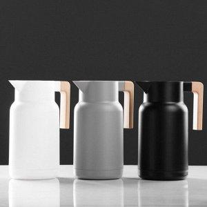 Термос-кофейник 1 л, стеклянная колба, 25х18х20 см, микс