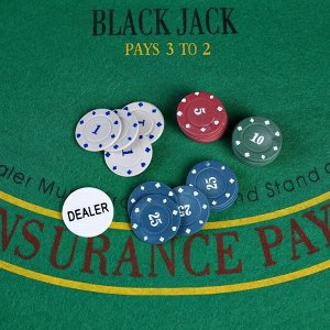 Покер, набор для игры, фишки 100 шт с номин. 11.5х19 см