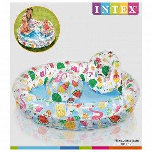 Бассейн надувной «Фрукты», 122 х 25 см, с кругом и мячом, от 2 лет, 59460NP INTEX