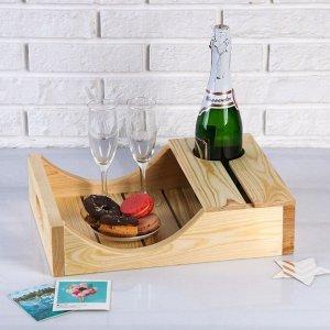 Поднос для вина под одну бутылку, ручки-вырезы боковые, масло, МАССИВ, 30?40 см