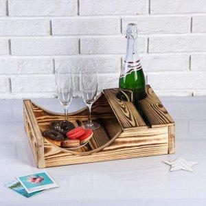 Поднос для вина под одну бутылку, ручки-вырезы боковые, обожжённый, МАССИВ, 30?40 см