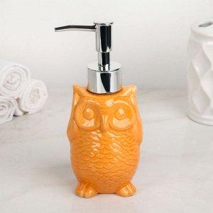 Дозатор для жидкого мыла Доляна «Совушка», 250 мл, цвет оранжевый
