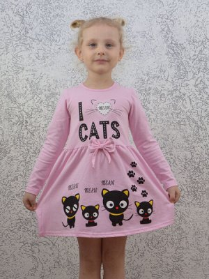 Платье розовое Черные котята.Длинный рукав