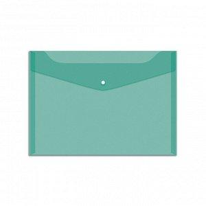 Пaпка-конверт на кнопке А4, 150мкм, зеленая