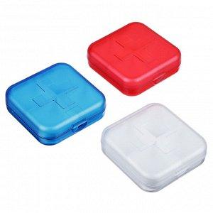 Бокс для таблеток 4 ячейки, пластик, 6,5х6,5 см, 3 цвета
