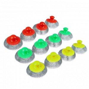 VETTA Набор губок 4шт кухонных, металл, пластик, 70гр, 3 цвета