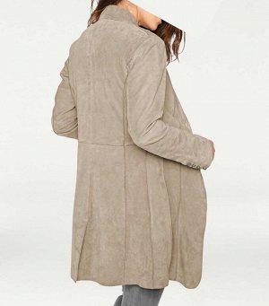 Кожаное пальто, серое